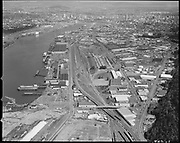 """Ackroyd 21840-1 """"Burlington Northern RR. Aerials: Piggy-back operation. April 29, 1984"""" (area from Yeon to Front between Waterways Terminal and Kittridge bridge, some St Helens Road, Brazil motors, Mt. Hood Chemical.)"""