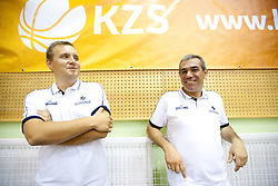 Matej Avanzo and Roman Volcic of KZS during practice session of Slovenian National Basketball team during training camp for Eurobasket Lithuania 2011, on July 12, 2011, in Arena Vitranc, Kranjska Gora, Slovenia. (Photo by Vid Ponikvar / Sportida)
