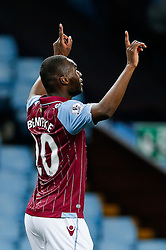 Christian Benteke of Aston Villa celebrates scoring his second goal to make it 2-1 - Photo mandatory by-line: Rogan Thomson/JMP - 07966 386802 - 07/04/2015 - SPORT - FOOTBALL - Birmingham, England - Villa Park - Aston Villa v Queens Park Rangers - Barclays Premier League.