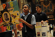 """Chicago Catholic School students celebrate the 33rd Annual African American Heritage Month Eucharistic Celebration at Holy Name Cathedral. This year's mass celebrates the the Nguzo Saba principle of Kuumba, or """"creativity"""" at Holy Name Cathedral."""