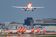 Gatwick's dominant carrier with Europe's second-biggest budget airline EasyJet plane is seen taking off from Gatwick airport runway on Wednesday, May 6, 2020. (Photo/Vudi Xhymshiti)