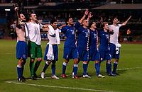 Photo: Richard Lane.<br />Croatia v England. UEFA European Championships 2008 Qualifying. 11/10/2006. <br />Croatia celebration on the final whistle.