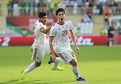 ABU DHABI, Jan. 12, 2019  Iran's Sardar Azmoun (R) celebrates scoring during the 2019 AFC Asian Cup UAE 2019 group D match between Vietnam and Iran in Abu Dhabi, the United Arab Emirates (UAE), Jan. 12, 2019. Iran won 2-0. (Credit Image: © Xinhua via ZUMA Wire)