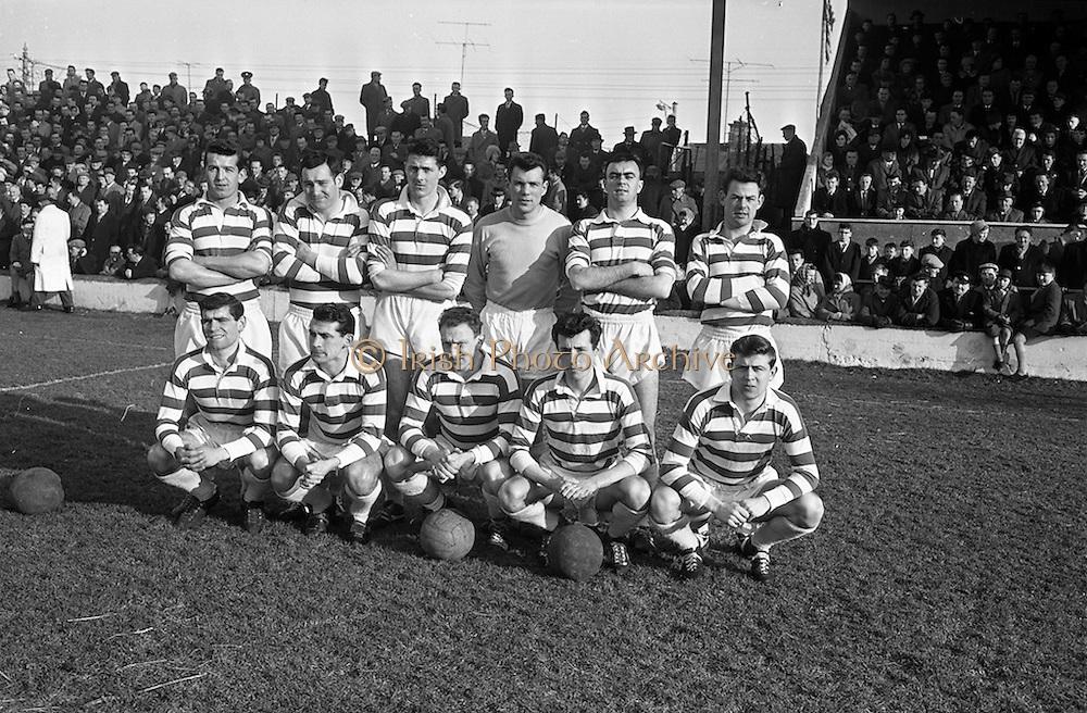 17/02/1963<br /> 02/17/1963<br /> 17 February 1963<br /> Soccer: Shamrock Rovers v Cork Celtic at Glenmalure Park, Milltown. The Shamrock Rovers team.