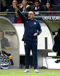 Chelsea manager Maurizio Sarri gestures on the touchline during the UEFA Europa League Semi final, first leg match at The Frankfurt Stadion, Frankfurt.