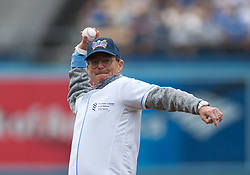 June 7, 2017 - Los Angeles, California, U.S - Philanthropist Brian Sheth throws the first pitch at Dodger Stadium prior to the game between the LA Dodgers and the Washington Nationals in Los Angeles California on Wednesday June 7, 2017. Brian Sheth with Michael Milken stopped in Los Angeles to promote the Home Run Challenge, an initiative with Major League Baseball to increase awareness and support research for the  Prostate Cancer Foundation. (Credit Image: © Prensa Internacional via ZUMA Wire)