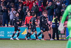 Dunfermline's Kevin Nisbet celebrates after scoring their fourth goal, and his hat trick. Dunfermline 5 v 1 Partick Thistle, Scottish Championship game played 30/11/2019 at Dunfermline's home ground, East End Park.