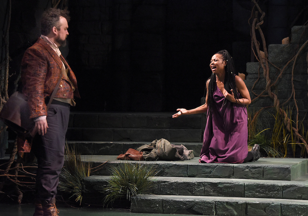"""Mara Lavitt -- Special to the Hartford Courant<br /> March 24, 2016<br /> The run-through of William Shakespeare's """"Cymbeline,"""" at the University Theatre at Yale. Christopher Michael McFarland as Pisanio and Sheria Irving as Imogen."""