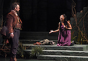 "Mara Lavitt -- Special to the Hartford Courant<br /> March 24, 2016<br /> The run-through of William Shakespeare's ""Cymbeline,"" at the University Theatre at Yale. Christopher Michael McFarland as Pisanio and Sheria Irving as Imogen."