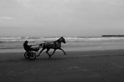 Jaunting car on Lahinch beach at dusk, Co. Clare, Ireland