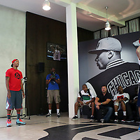 12 July 2013: Chicago Bulls superstar Derrick Rose is seen with fans in Adidas' D Rose place during Adidas' D Rose tour,  in Paris, France.