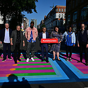 Photographer Rankin, artist Yinka Ilori and The Mayor of London, Sadiq Khan and Councillor Sabrina Francis ,Mayor of Camden attended Let's Do London Autumn culture season with spectacular public street art installations. Joined by artist Yinka Ilori, and photographer Rankin to unveil Bring London Together – a spectacular new public art commission transforming 18 pedestrian crossings with distinctive playful designs using a bright colour pallet and bold forms. The 'Bring London Together'  at Tottenham Court Road on 2021-09-16 London, UK.