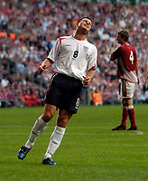 Fotball<br /> England 2005/2006<br /> Foto: SBI/Digitalsport<br /> NORWAY ONLY<br /> <br /> Danmark v England<br /> <br /> International Friendly. 17/08/2005.<br /> <br /> Frank Lampard rues an early chance squandered.
