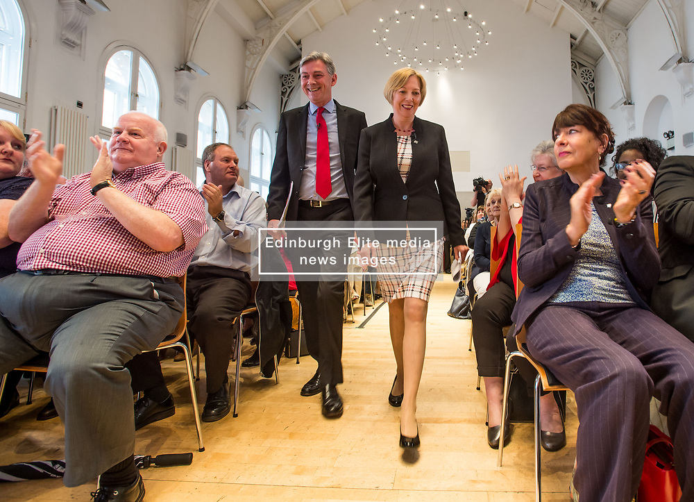 Pictured: Richard Leonard arrives with his new deputy Lesley Laird.<br /> <br /> Scottish Labour leader Richard Leonard announced his new deputy leader, Fife MP Lesley Laird, at a speech in Glasgow.<br /> <br /> © Dave Johnston/ EEm