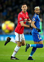 23 December 2017 -  Premier League - Leicester City v Manchester United - Riyad Mahrez of Leicester City in action with Nemanja Matic of Manchester United - Photo: Marc Atkins/Offside