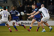 Sale Sharks stand-off Rob Du Preez off loads the ball to Sale Sharks wing Marland Yarde during a Gallagher Premiership Rugby Union match, won by Sharks 39-0, Friday, Mar. 6, 2020, in Eccles, United Kingdom. (Steve Flynn/Image of Sport)