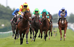 Harry Angel (left) ridden by Alan Kirby wins the Armstrong Aggregates Sandy Lane Stakes, at Haydock Park Racecourse. PRESS ASSOCIATION Photo. Picture date Saturday May 27, 2017. See PA story RACING Haydock. Photo credit should read: Martin Rickett/PA Wire.