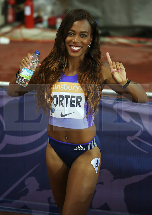 © Licensed to London News Pictures. 24/07/2015. London, UK. British champion Tiffany Porter after the 100m hurdles in the Diamond League at the Olympic Stadium as part of the Sainsbury's Anniversary Games. Photo credit: LNP