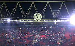 THe stadium clock shortly after the final whistle of the Europa League match at the Emirates Stadium, London.