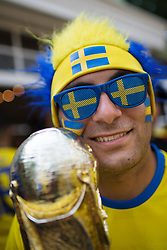June 27, 2018 - Yekaterinburg, RUSSIA - A Swedish fan ahead of the FIFA World Cup group stage match between Mexico and Sweden in Yekaterinburg. (Credit Image: © Joel Marklund/Bildbyran via ZUMA Press)