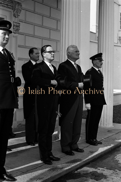 28/04/1965<br /> 04/28/1965<br /> 28 April 1965<br /> New American Ambassador presents Credentials. His Excellency Raymond Richard Guest , (right) American Ambassador, accompanied by Counsellor at the Embassy, Robert P. Chalker,  outside Aras an Uachtarain after the ceremony.