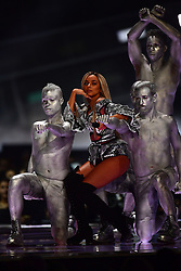 Little Mix's Jade Thirlwall performing on stage at the Brit Awards at the O2 Arena, London.