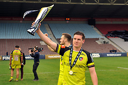 Freddie Burns of Leicester Tigers with the Anglo-Welsh Cup trophy - Mandatory byline: Patrick Khachfe/JMP - 07966 386802 - 19/03/2017 - RUGBY UNION - The Twickenham Stoop - London, England - Exeter Chiefs v Leicester Tigers - Anglo-Welsh Cup Final.