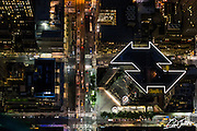 Aerial view of 101 Park Avenue in NYC at night, photographed from a helicopter.