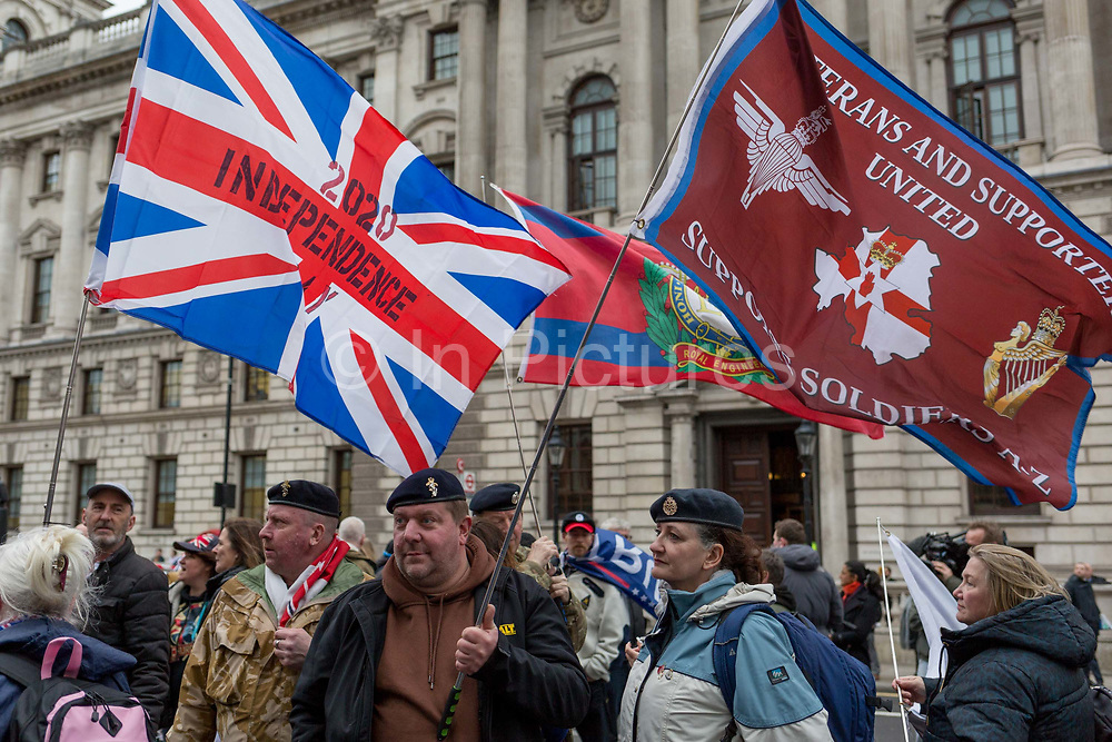 After threee and a half years of political upheavel in the British parliament, military veterans and Brexiteers celebrate in Westminster on Brexit Day, the day when the UK legally leaves the European Union, on 31st January 2020, in London, England.