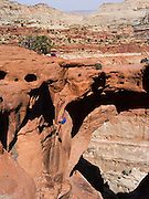 Climber and spectators - Scene from Cassidy Arch, Capitol Reef National Park, Utah.