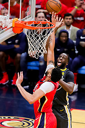May 6, 2018 - New Orleans, LA, U.S. - NEW ORLEANS, LA - MAY 06:   Golden State Warriors forward Draymond Green (23) shoots over New Orleans Pelicans forward Anthony Davis (23) during game 4 of the NBA Western Conference Semifinals at Smoothie King Center in New Orleans, LA on May 06, 2018.  (Photo by Stephen Lew/Icon Sportswire) (Credit Image: © Stephen Lew/Icon SMI via ZUMA Press)