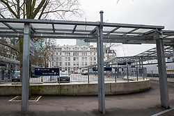 London, UK. 6th February, 2021. A taxi rank is pictured on the site of the former Euston Square Gardens West. The site was cleared of many of its trees in 2018 in order to construct the taxi rank as part of the HS2 high-speed rail link project and Euston Square Gardens East is currently also being cleared of trees for the same project.