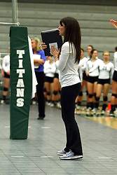 28 October 2016:  Ellen Dreyer during an NCAA womens division 3 Volleyball match between the DePauw Tigers and the Illinois Wesleyan Titans in Shirk Center, Bloomington IL