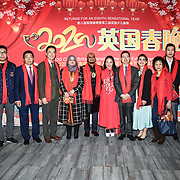 Ying Ying Xiao, Mr Du Barry,Connie Zhang,Cllr Humayun Kabir and wife, Cllr Maryam Eslamdoust , Toms Chen wife and Minister Tong Xuejun (M) attends the 2020 China-Britain Chinese New Year Extravaganza with 200 performers from over 20 art groups from both China and the UK showcase at Logan Hall on 18th January 2020, London, UK.