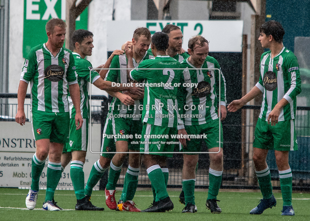 BROMLEY, UK - AUGUST 25: <br /> Rusthall Players celebrate their goal during the FA Cup Preliminary Round match between Cray Wanderers and Rusthall at Hayes Lane on August 25, 2018 in Bromley, UK. (Photo: Jon Hilliger / Cray Wanderers)