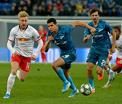 November 5, 2019, St. Petersburg, Russia: Russia. St. Petersburg. November 5, 2019. FC Leipzig FC players Emil Forsberg and FC Zenit Yordan Osorio, Alexander Erokhin (left to right) in the UEFA Champions League group stage match between the teams Zenit (St. Petersburg, Russia) and RB Leipzig  (Credit Image: © Andrey Pronin/ZUMA Wire)