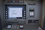 A detail of an out of order Cash dispenser ATM in West Norwood, south London, on 14th November 2019, in London, England.