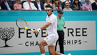 Tennis - 2019 Queen's Club Fever-Tree Championships - Day Seven, Sunday<br /> <br /> Men's Singles Final: Feliciano Lopez (ESP) Vs. Gilles Simon (FRA)<br /> <br /> Feliciano Lopez (ESP) with the backhand return on Centre Court.<br />  <br /> COLORSPORT/DANIEL BEARHAM