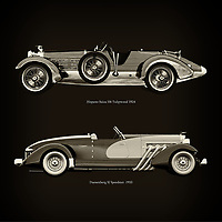 For the lover of old classic cars, this combination of a Hispano Suiza H6 Tulipwood 1924 and Duesenberg SJ Speedster  1933 is truly a beautiful work to have in your home.<br /> The classic Hispano Suiza H6 Tulipwood  and the beautiful Duesenberg SJ Speedster are among the most beautiful cars ever built.<br /> You can have this work printed in various materials and without loss of quality in all formats.<br /> For the oldtimer enthusiast, the series by the artist Jan Keteleer is a dream come true. The artist has made a fine selection of the very finest cars which he has meticulously painted down to the smallest detail. –<br /> -<br /> <br /> BUY THIS PRINT AT<br /> <br /> FINE ART AMERICA<br /> ENGLISH<br /> https://janke.pixels.com/featured/hispano-suiza-h6-tulipwood-1924-and-duesenberg-sj-speedster-1933-jan-keteleer.html<br /> <br /> WADM / OH MY PRINTS<br /> DUTCH / FRENCH / GERMAN<br /> https://www.werkaandemuur.nl/nl/shopwerk/Hispano-Suiza-H6-Tulipwood-1924-en-Duesenberg-SJ-Speedster-1933/754107/132?mediumId=1&size=60x60<br /> <br /> –