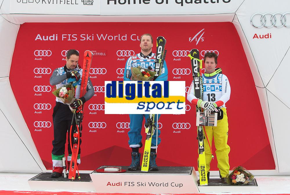 Ski , Audi FIS  SKI , World Cup , 2016/17<br /> Men´s DownHill<br /> Kvitfjell (NOR)<br /> 25.02.17<br /> Foto : Dagfinn Limoseth , Digitalsport<br /> Peter Fill , ITA , Kjetil Jansrud , NOR  , Beat Feuz , SUI