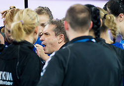 Tone Tiselj, head coach of Krim Mercator during handball match between RK Krim Mercator and CS Oltchim RM Valcea (ROU) of Women's EHF Champions League 2011/2012, on February 4, 2012 in Arena Stozice, Ljubljana, Slovenia. Valcea defeated Krim 31-25. (Photo By Vid Ponikvar / Sportida.com)
