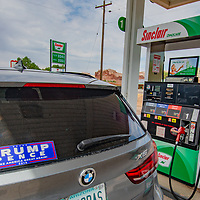 A car parks at a gas station in Bluff, Utah, on the edge of Bears Ears National Monumewnt, which was recently downsized by the Trump administration to enable more oild and gas exploration in the area.
