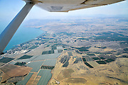 Aerial view of the Sea Of Galilee, Israel Kibbutz Ginosar in the centre