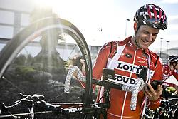 December 15, 2017 - Majorca, SPAIN - Belgian Nikolas Maes of Lotto Souda checks his mobile phone during a press day during Lotto-Soudal cycling team stage in Mallorca, Spain, ahead of the new cycling season, Friday 15 December 2017. BELGA PHOTO DIRK WAEM (Credit Image: © Dirk Waem/Belga via ZUMA Press)