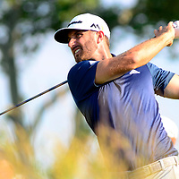 Dustin Johnson drives his tee shot at the 12th hole of the final round of the U.S. Open golf championship at Oakmont Country Club near Pittsburgh, on June 19, 2016.  Dustin Johnson goes on to win the tournament with 5 strokes under par.  Photo by Archie Carpenter/UPI