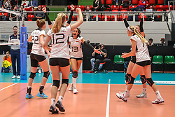 16.05.2019, Montreux, SUI, Montreux Volley Masters 2019, Deutschland vs Polen, im Bild Germany cheering: left 2 right: Lisa Gruending (Germany #22), Hanna Orthmann (Germany #12), Denise Imoudu (Germany #13), Nele Barber (Germany #7) // during the Montreux Volley Masters match between Germany and Poland in Montreux, Switzerland on 2019/05/16. EXPA Pictures © 2019, PhotoCredit: EXPA/ Eibner-Pressefoto/ beautiful sports/Schiller<br /> <br /> *****ATTENTION - OUT of GER*****