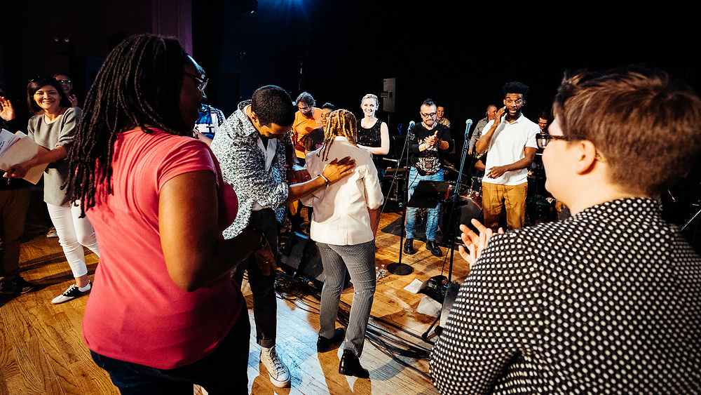 POUGHKEEPSIE, NY - APRIL 20: Artists and poets perform at PoughETRY Fest 2019 at Cunneen-Hackett Theater on April 20, 2019 in Poughkeepsie, New York. (PHOTO CREDIT: EricMTownsend.com)
