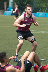 April 2, 2018 - Hong Kong, Hong Kong SAR, CHINA - HONG KONG,HONG KONG SAR,CHINA:April 2nd 2018. The Irish rugby team conduct a training session at Kings Park ahead of their Hong Kong Rugby 7's qualifiers. Will Connors warms up with squats (Credit Image: © Jayne Russell via ZUMA Wire)