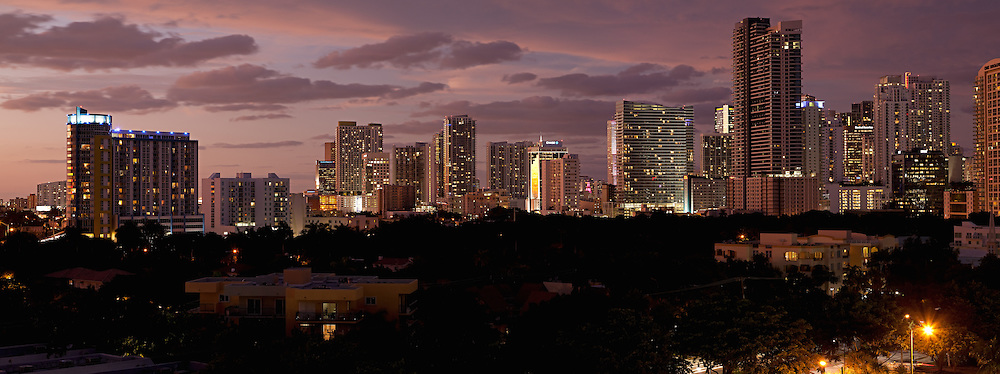 Panoramic view of Brickell Avenue and downtown Miami high-rise condominium, rental and office buildings at sunset. WATERMARKS WILL NOT APPEAR ON PRINTS OR LICENSED IMAGES.