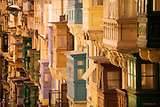Winner - Honourable Mention in 10th (2017) International Colour Awards (Architecture category)<br /> <br /> Multiple bay windows in the main street of Valletta, Malta.